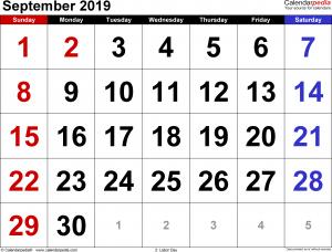 September 2019 Calendar for Word