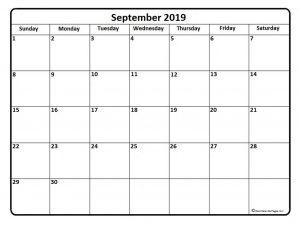 September Calendar 2019 PDF