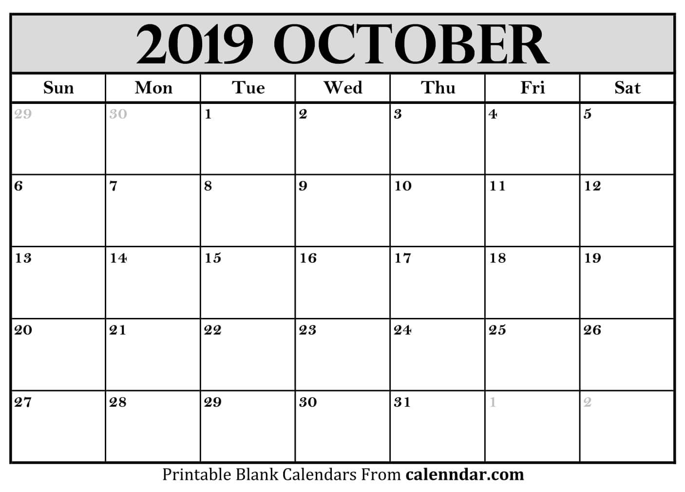 Template of October 2019 Calendar