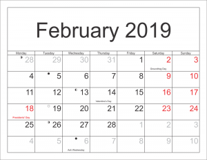 february calendar 2019 with holidays and moonphases