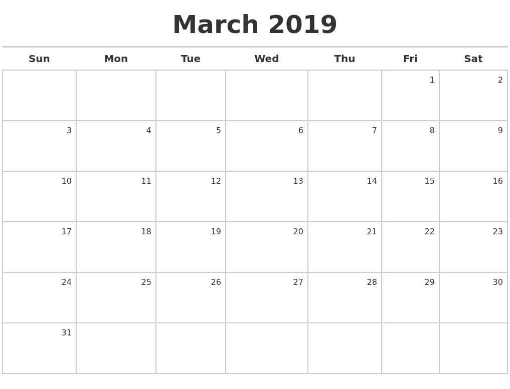 2019 Editable March Calendar