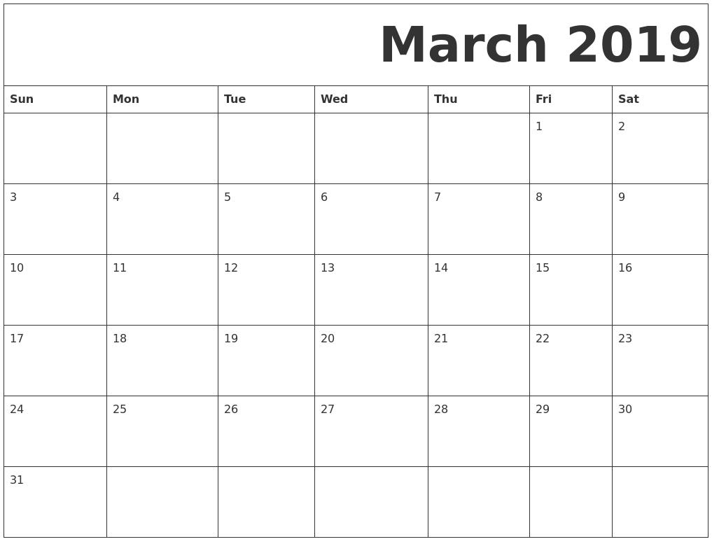 2019 March Calendar Template