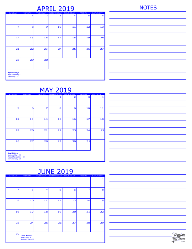 3 Month Calendar 2019 April May June