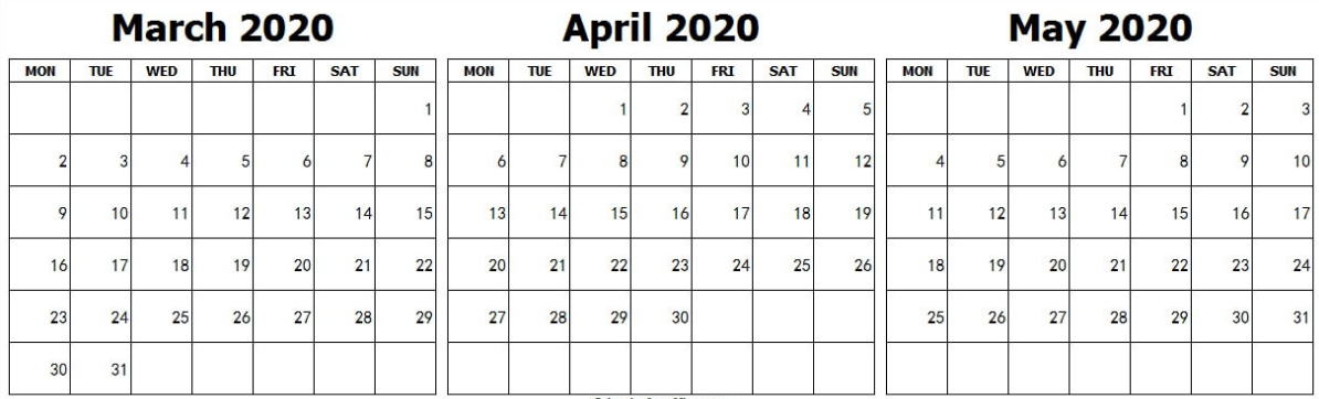 Calendar March April May 2020 Landscape