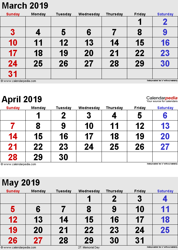 Calendar for March April May 2019