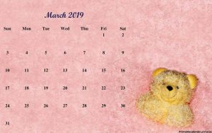 Cute March 2019 Calendar Daily