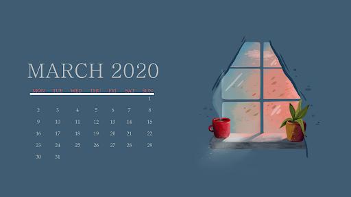 Cute March 2020 Calendar for Desktop
