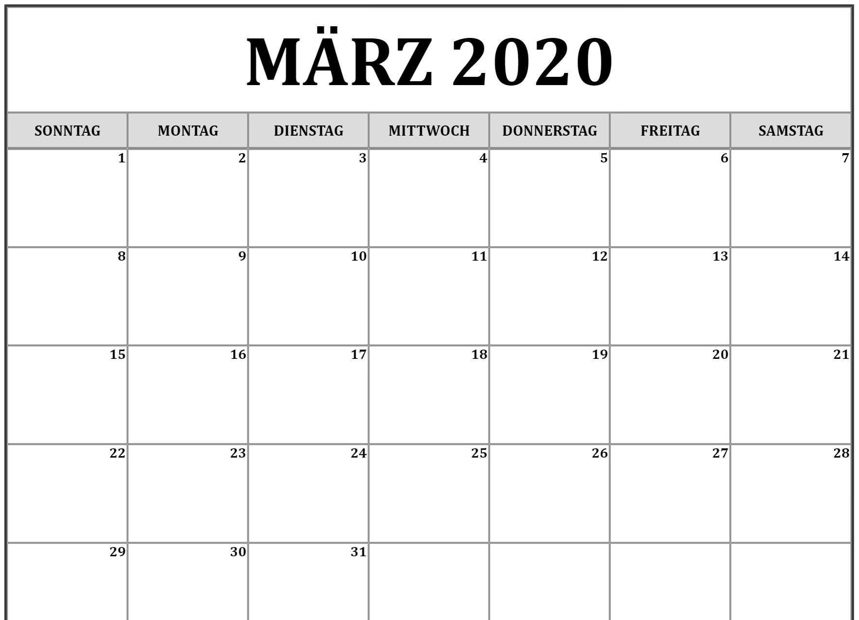 Drukbarer März Kalender 2020