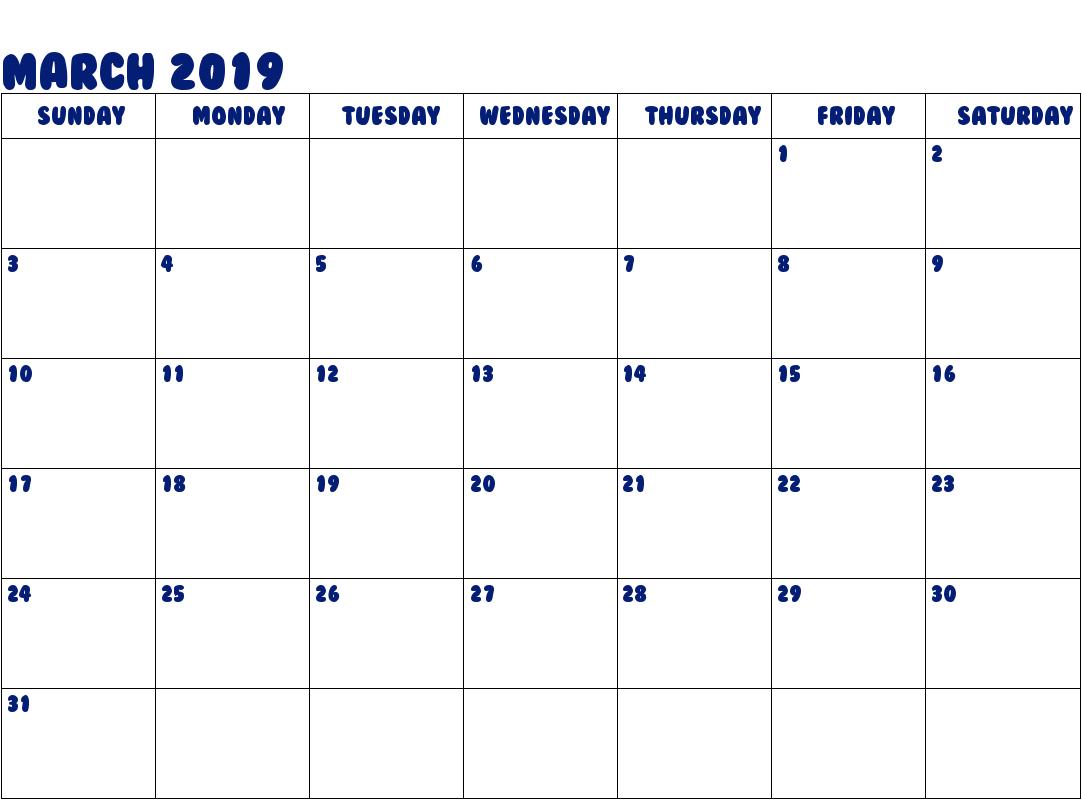 Editable 2019 March Calendar