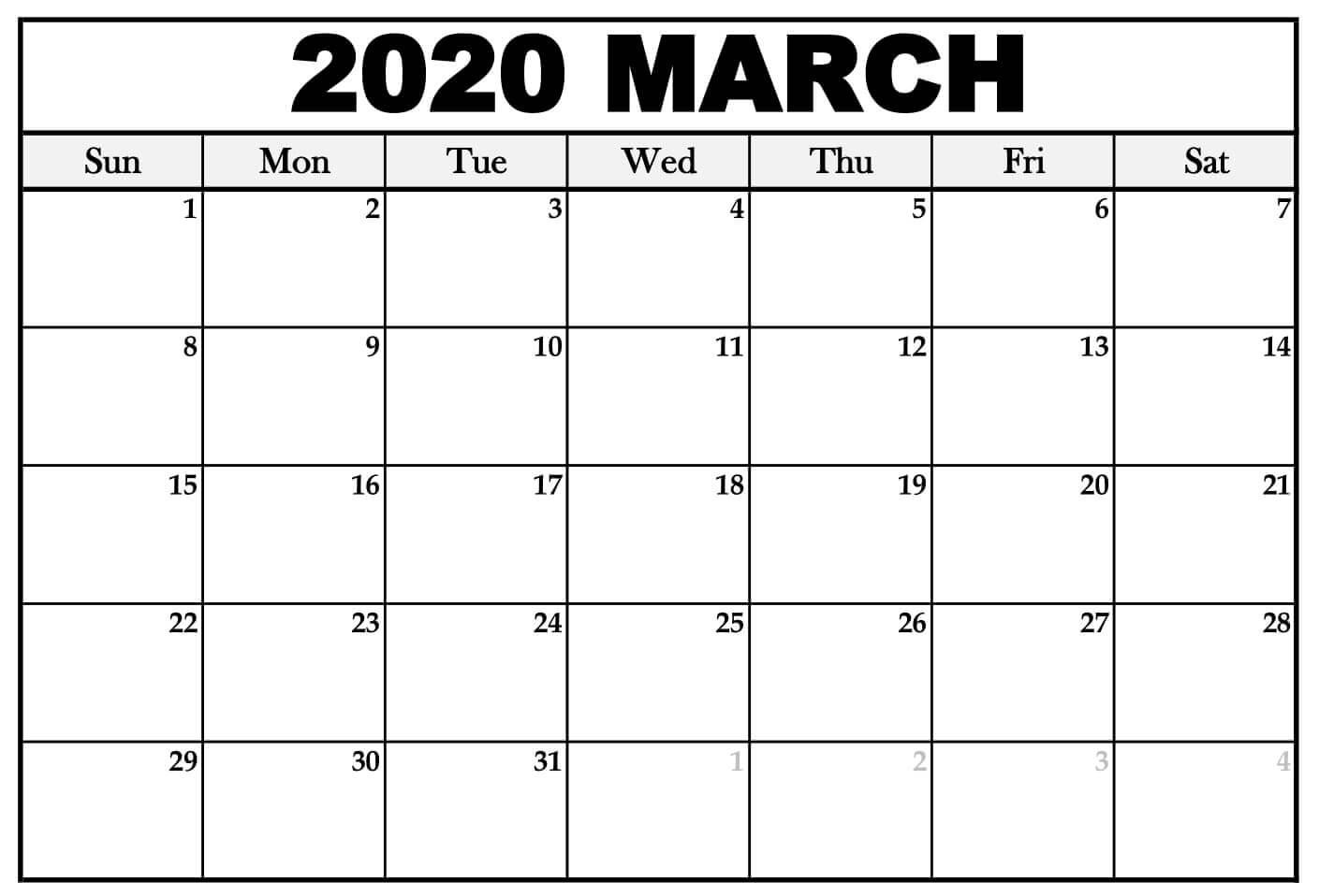 Editable Calendar Template March 2020