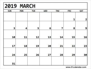 Editable March 2019 Calendar Full Pages
