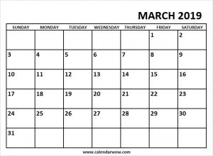 Editable March 2019 Calendar Landscape