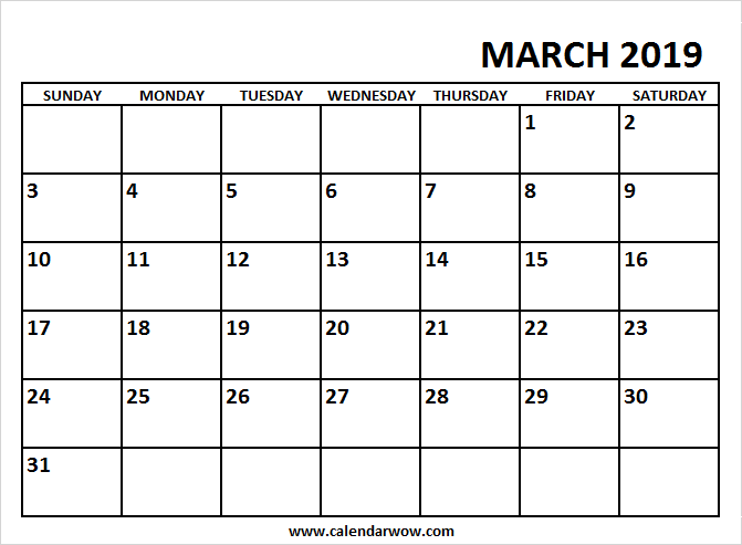Editable March 2019 Calendar Landscape Free Printable