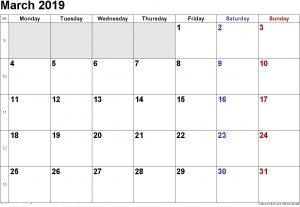 Editable March Calendar 2019 Printable