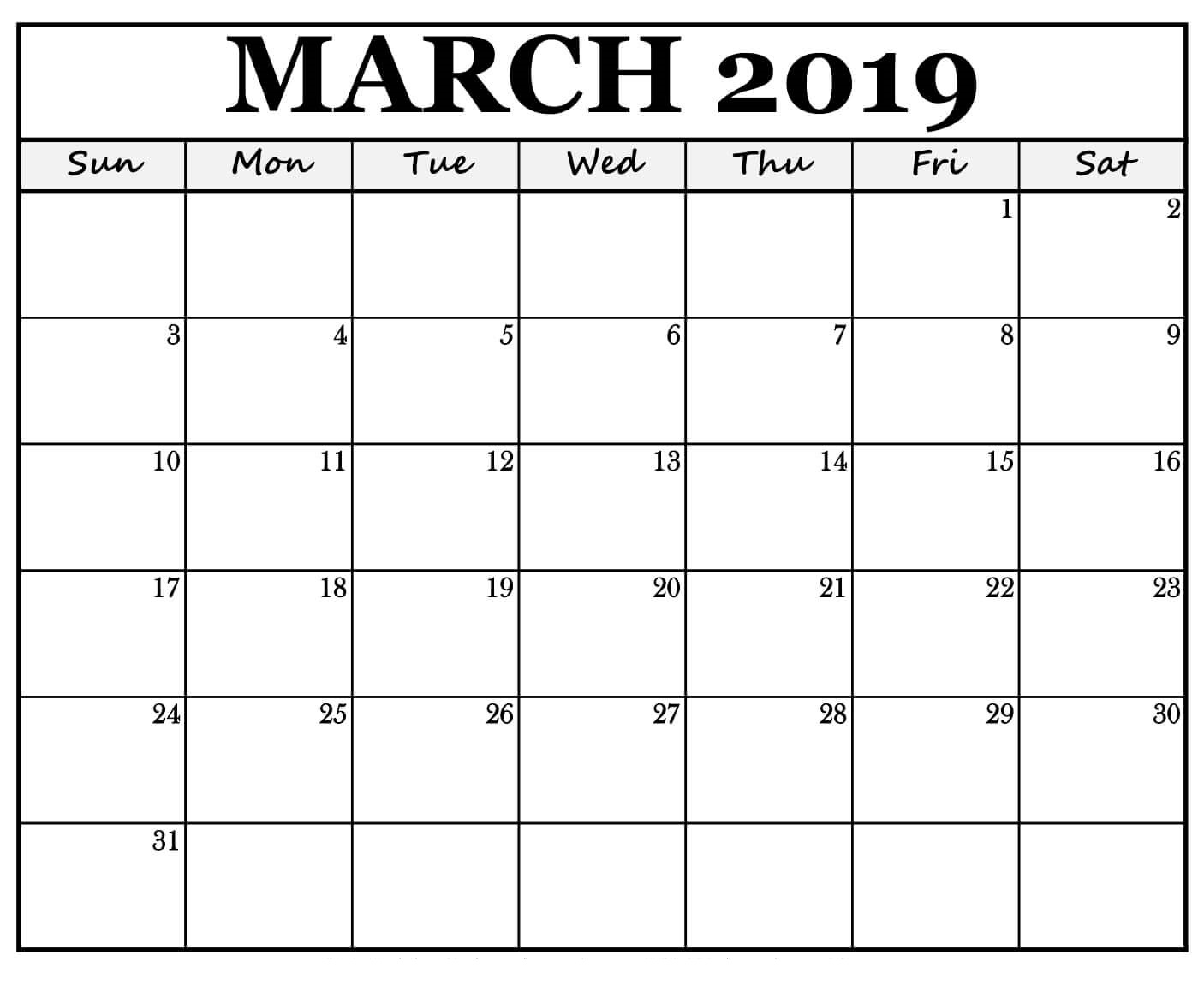 Editable March 2019 Calendar Word Template In Portrait And Landscape