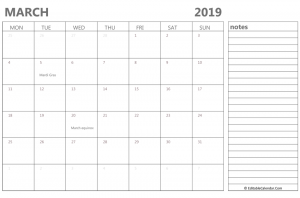 Editable March 2019 Calendar With Notes Free Printable