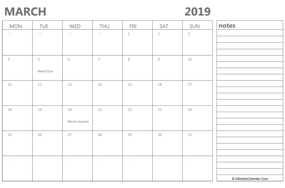 Editable March 2019 Calendar With Notes