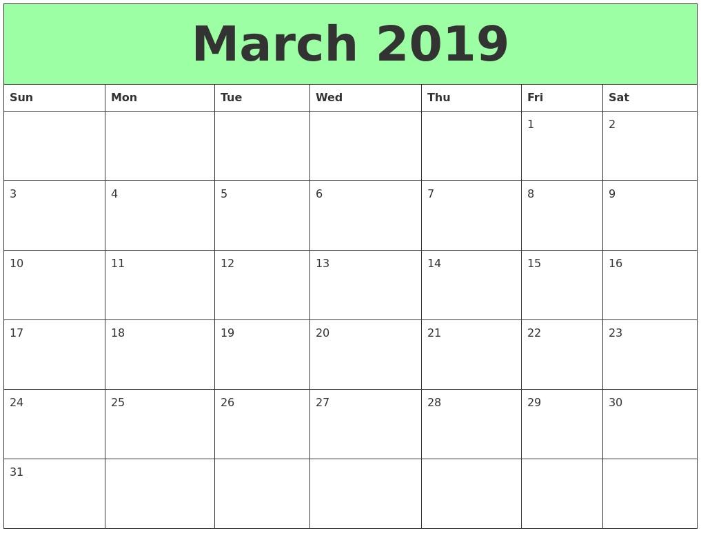 Editable March 2019 Calendar