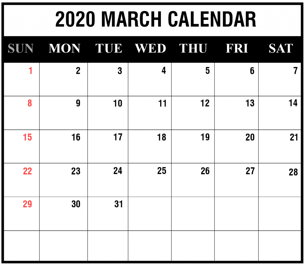 Editable March 2020 Calendar Printable