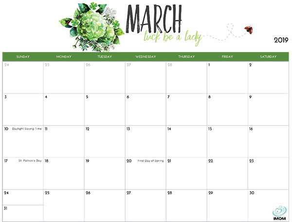 picture about Printable March Calendar Pdf called Floral March 2019 Calendar - Absolutely free Printable Calendar