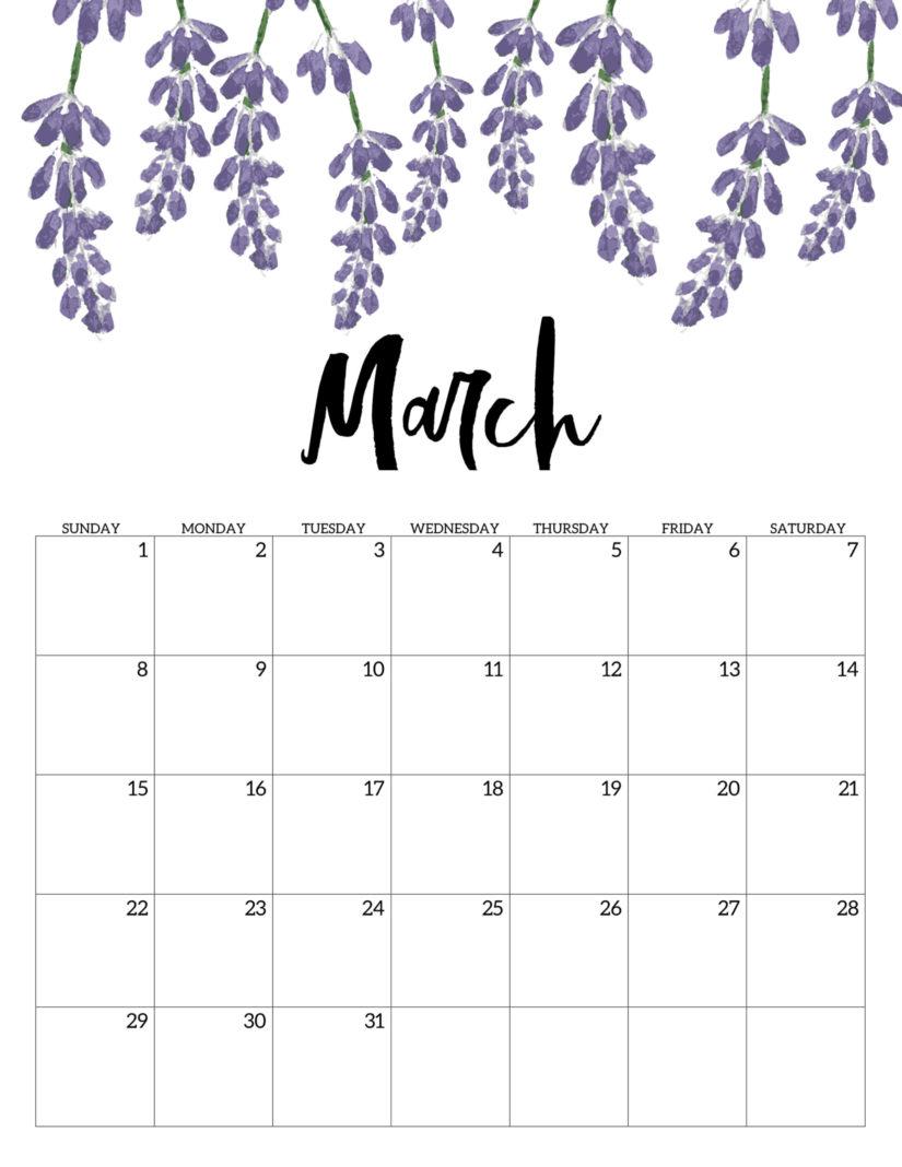 Floral March 2020 Printable Calendar