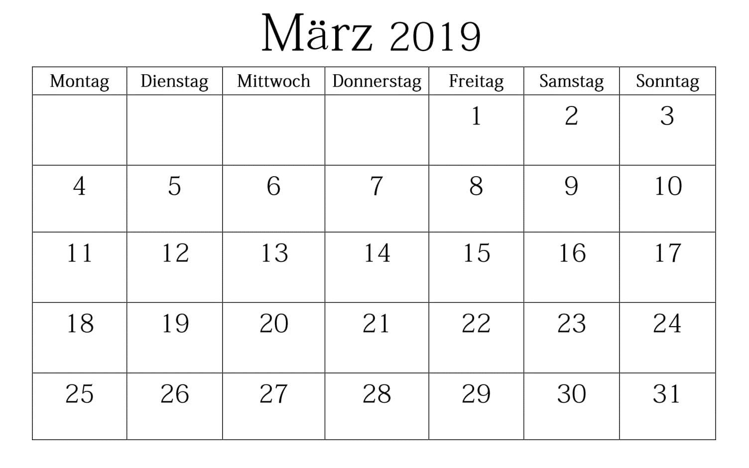 Kalender März 2019 Zum Ausdrucken Blatt
