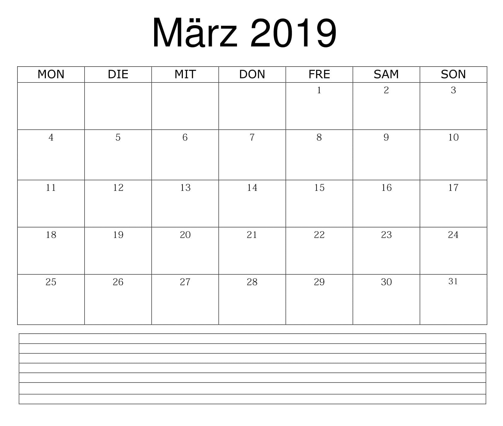 Kalender März 2019 Zum Ausdrucken Word