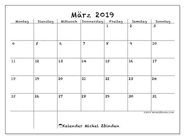 Leere März 2019 Kalender druckbare Vorlagen