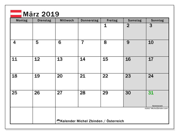Leere März 2019 Kalender druckbare