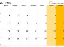 März 2019 Kalender druckbare