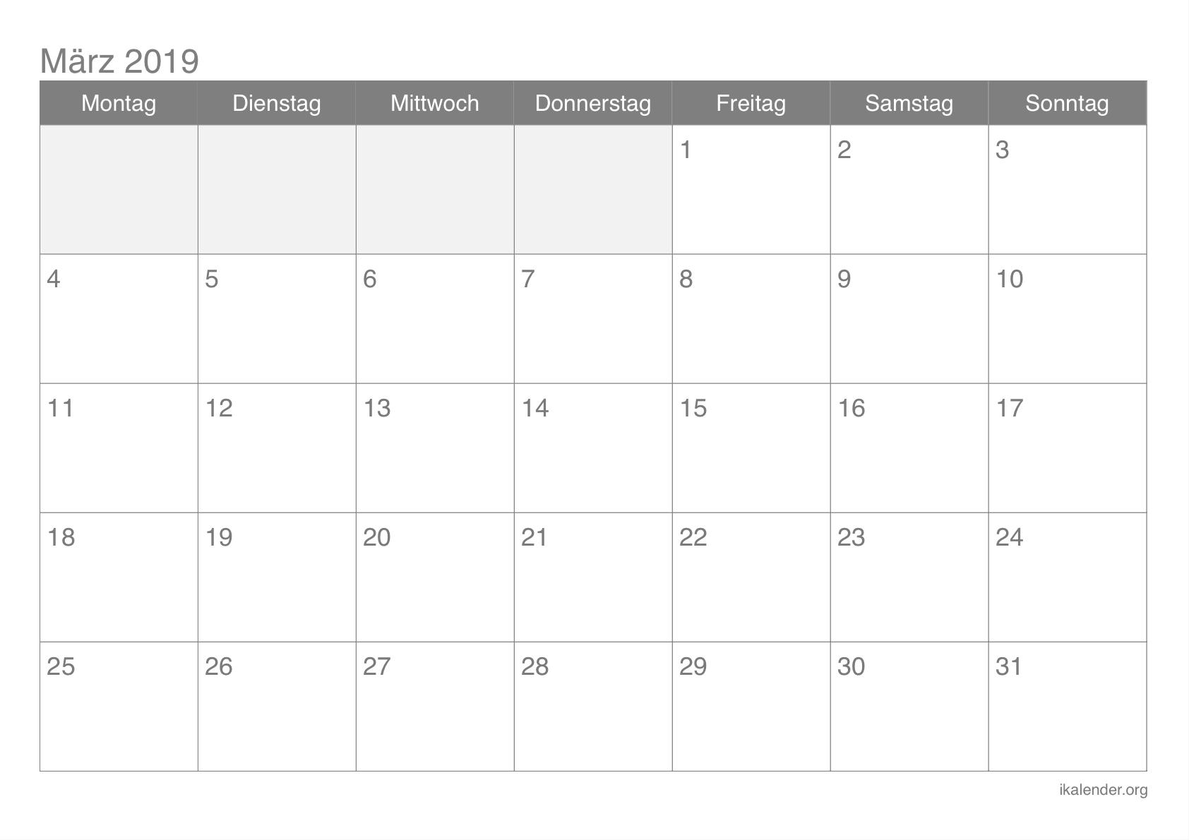 März 2019 Kalender