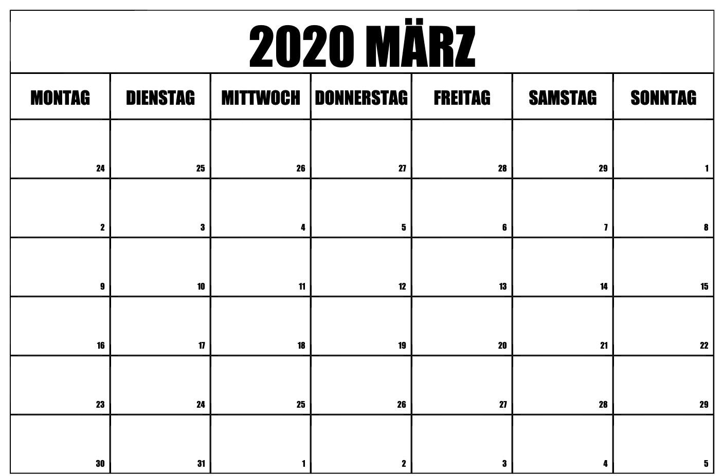 März 2020 Kalender Excel