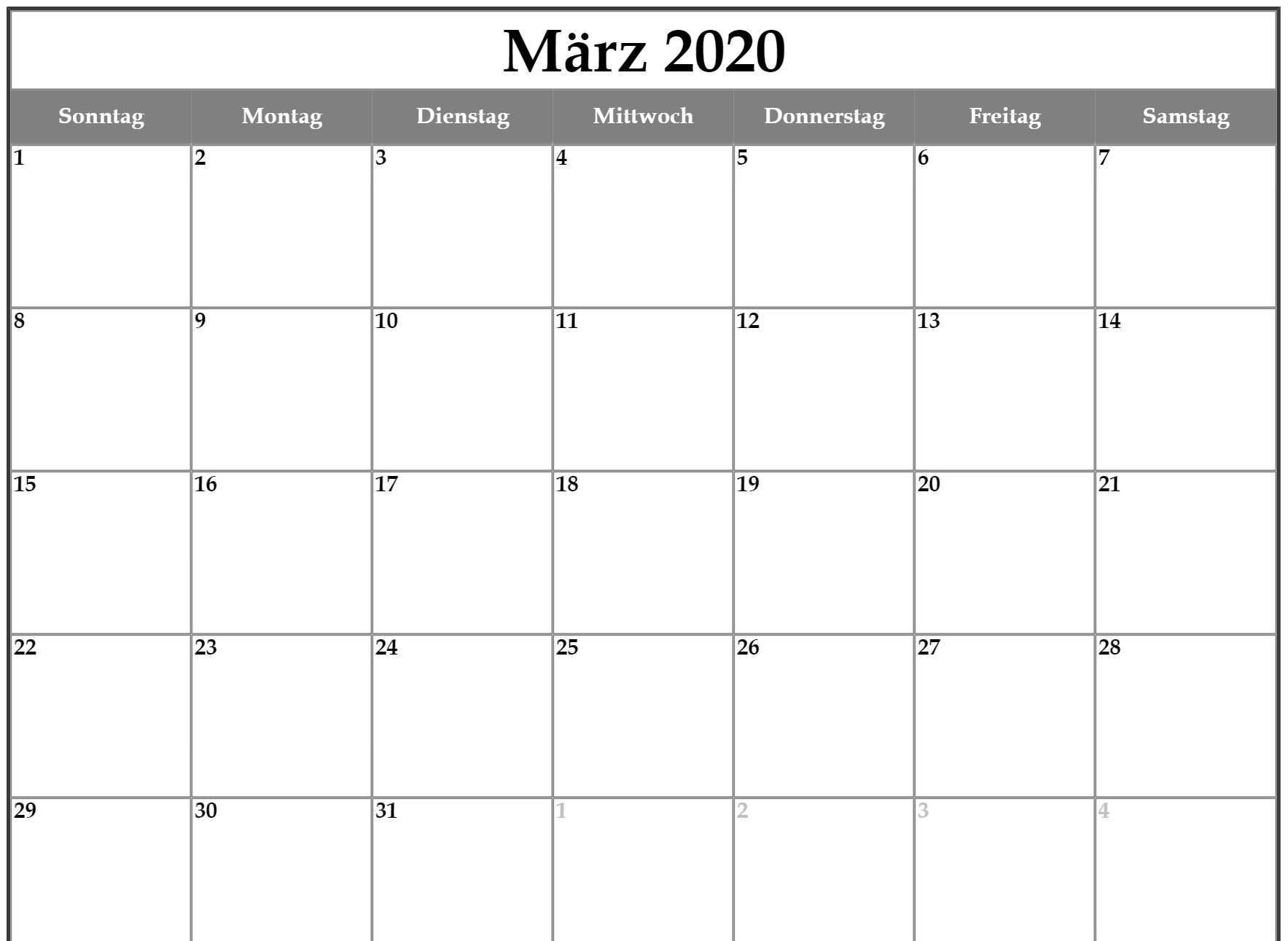 Drukbarer März 2020 Kalender Mit Feiertagen