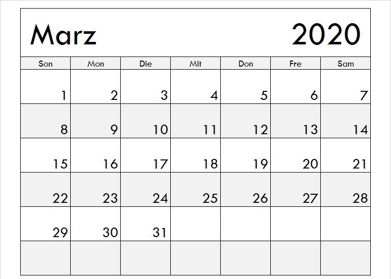 März 2020 Kalender mit Notizen