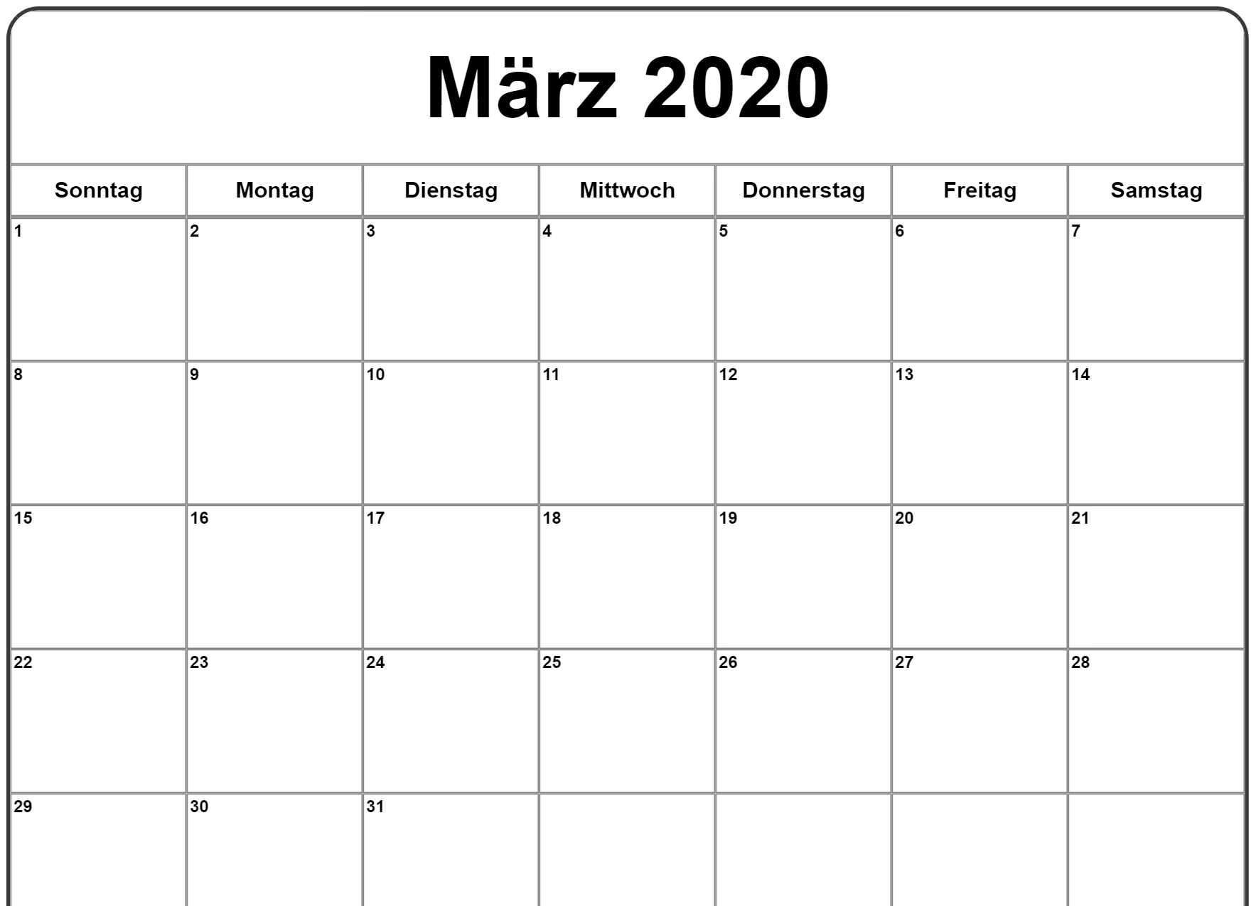 März 2020 Kalender