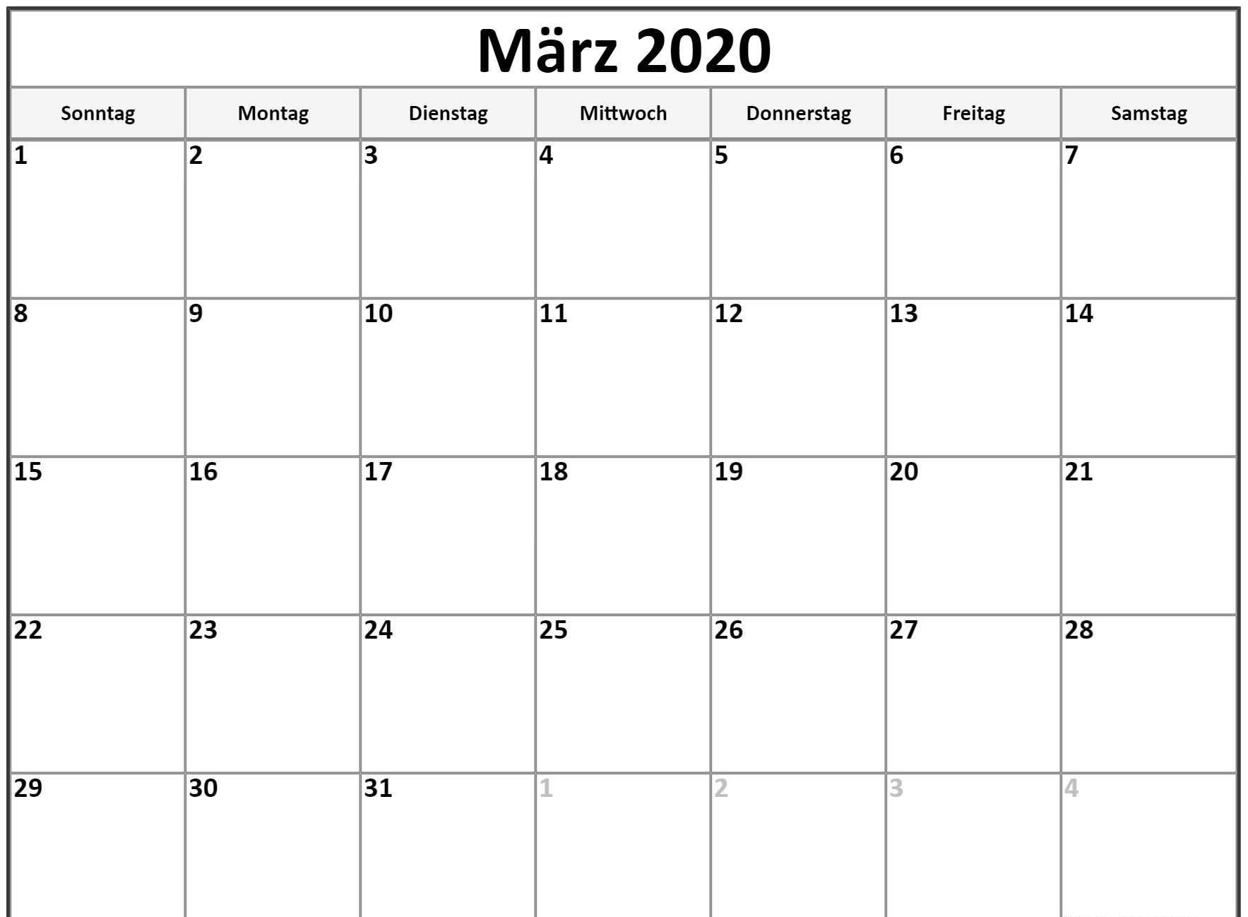 März 2020 Kalenderwort