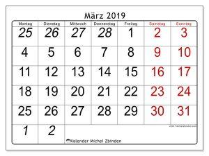 März Kalender 2019 Leere