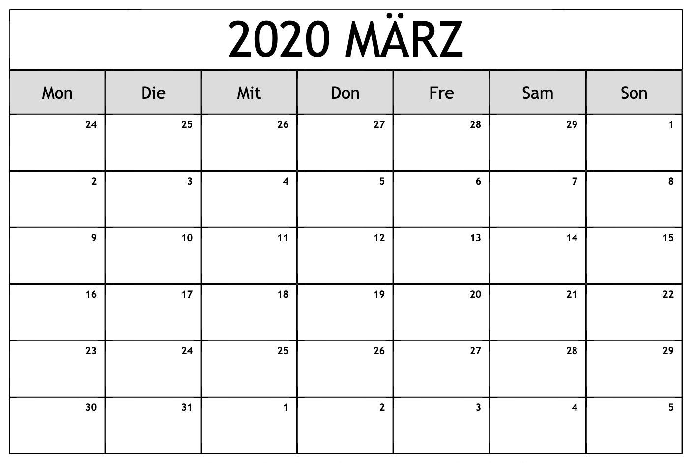 März Kalender 2020