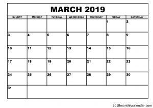 March 2019 Calendar Blank Editable