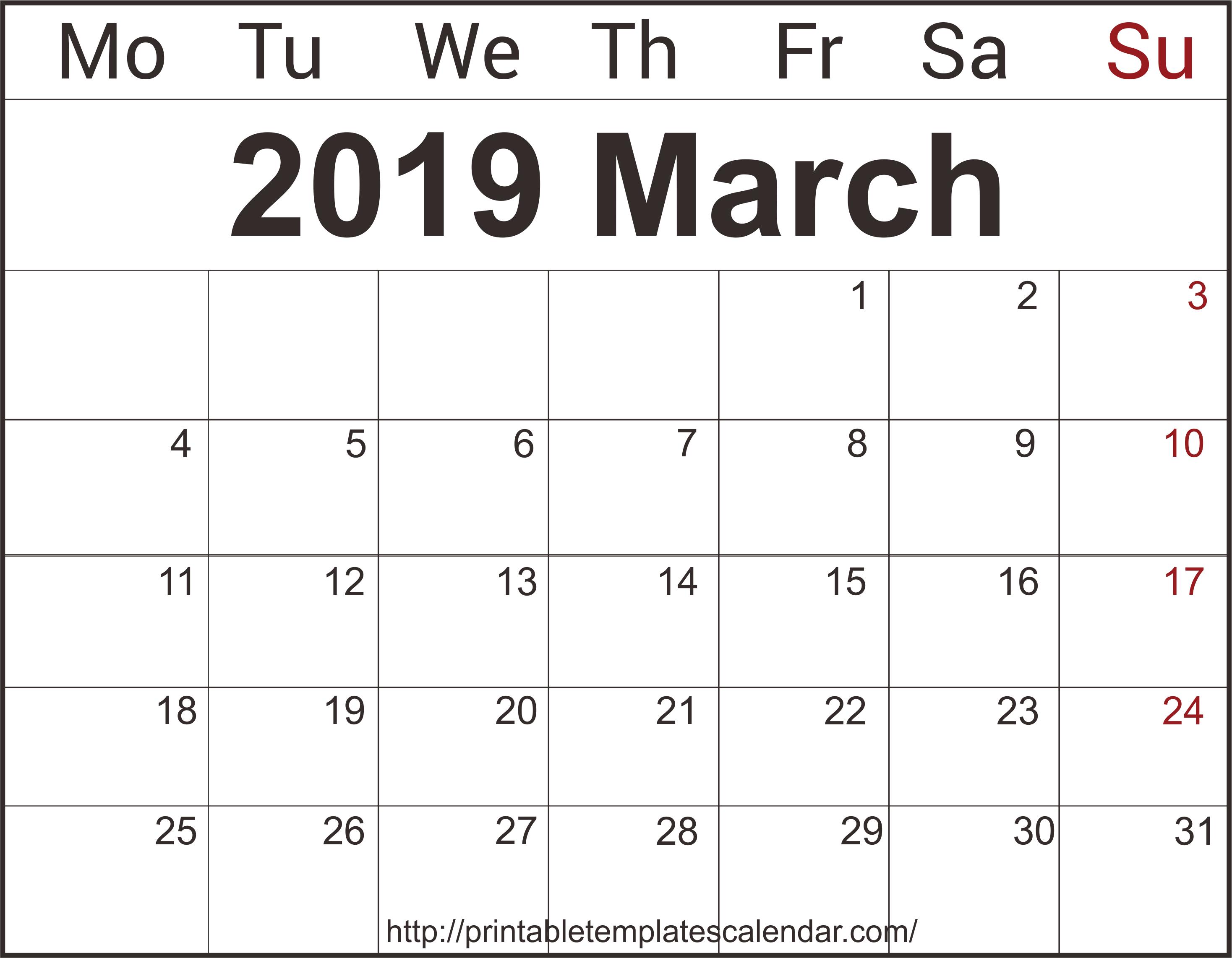 March 2019 Calendar Editable Template