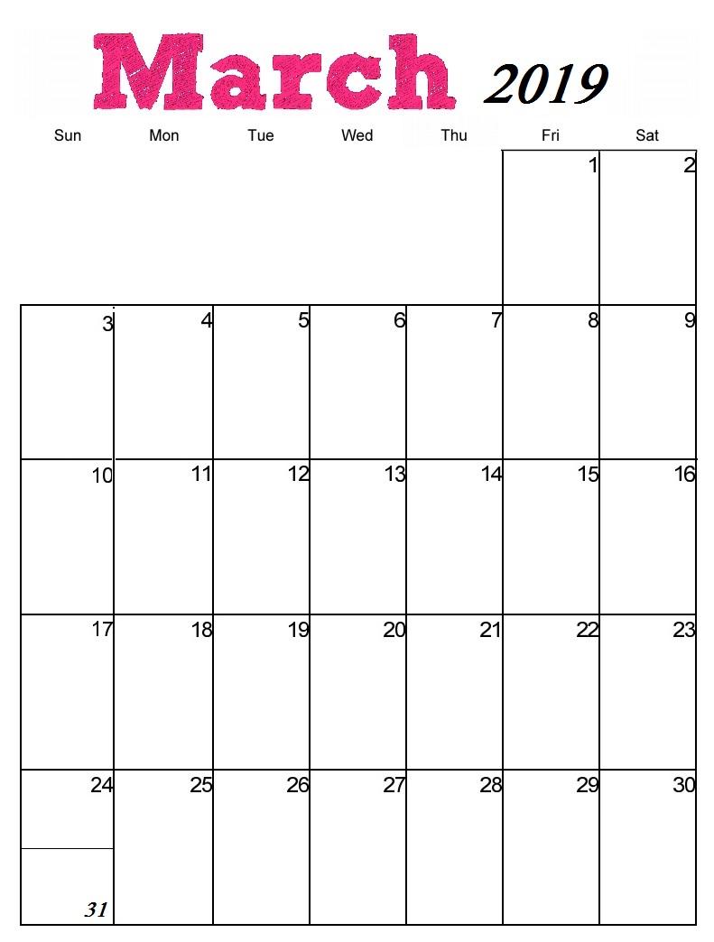March 2019 Calendar Template
