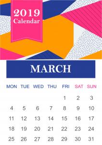 March 2019 Calendar Vertical