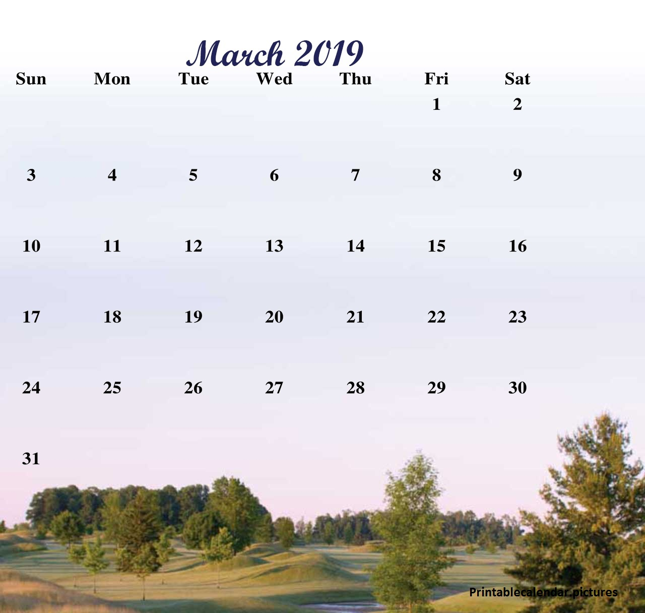 March 2019 Calendar Wallpaper