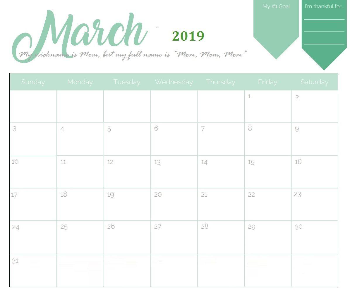 March 2019 Cute Calendar