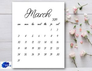 March 2019 Flower Wallpaper Calendar