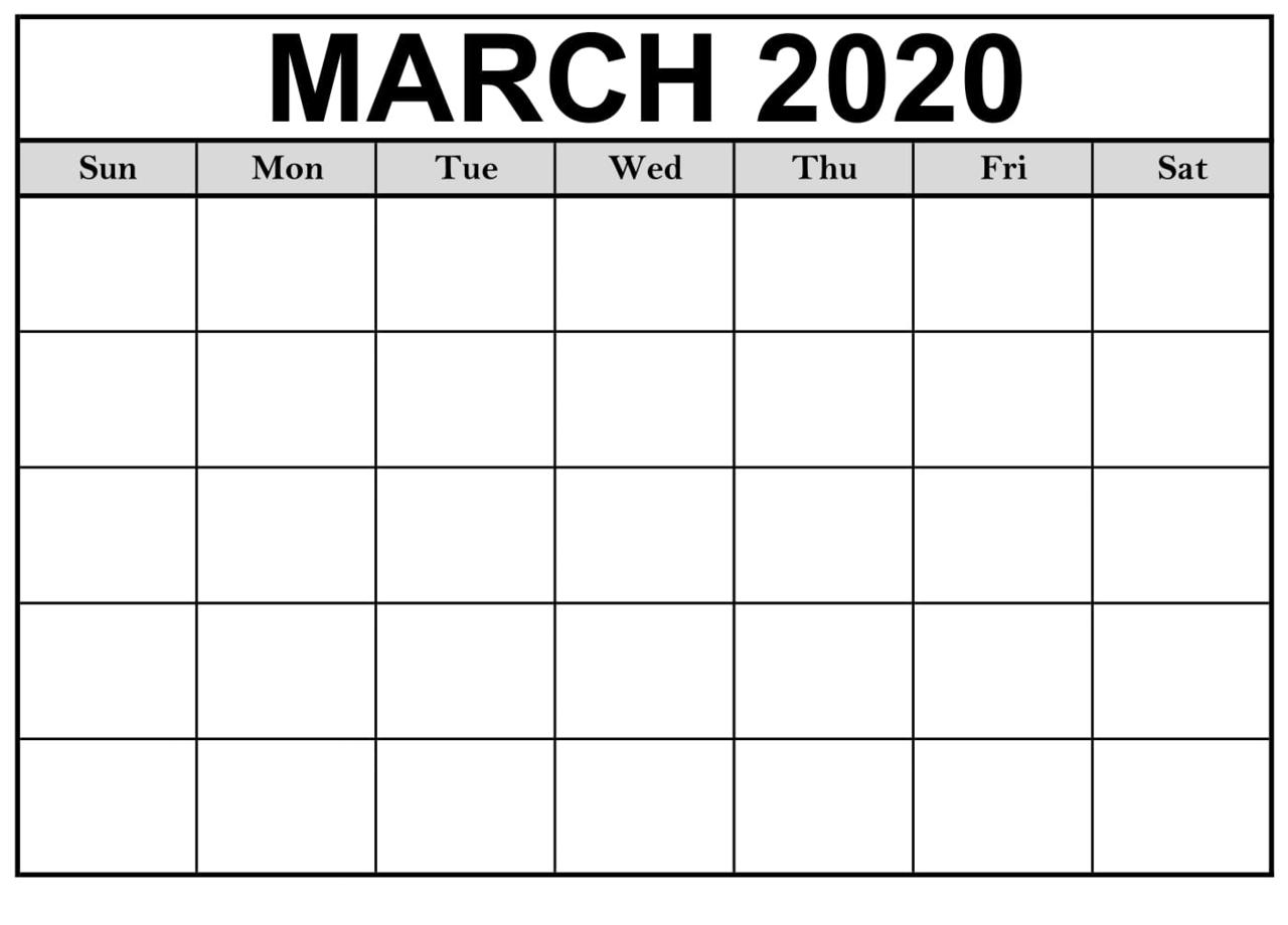 March 2020 Calendar Blank Template