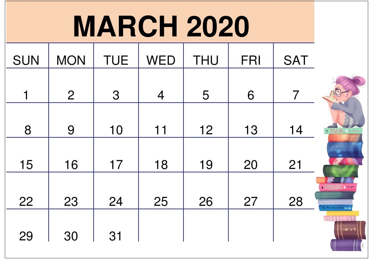 March 2020 Calendar Template For Kids