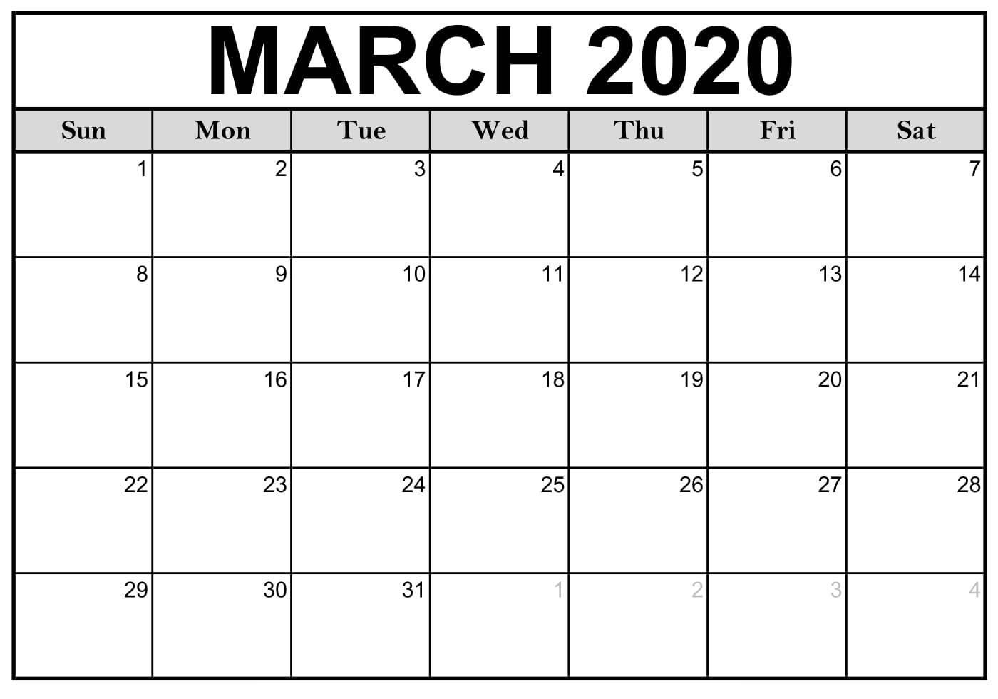 March 2020 Editable Calendar