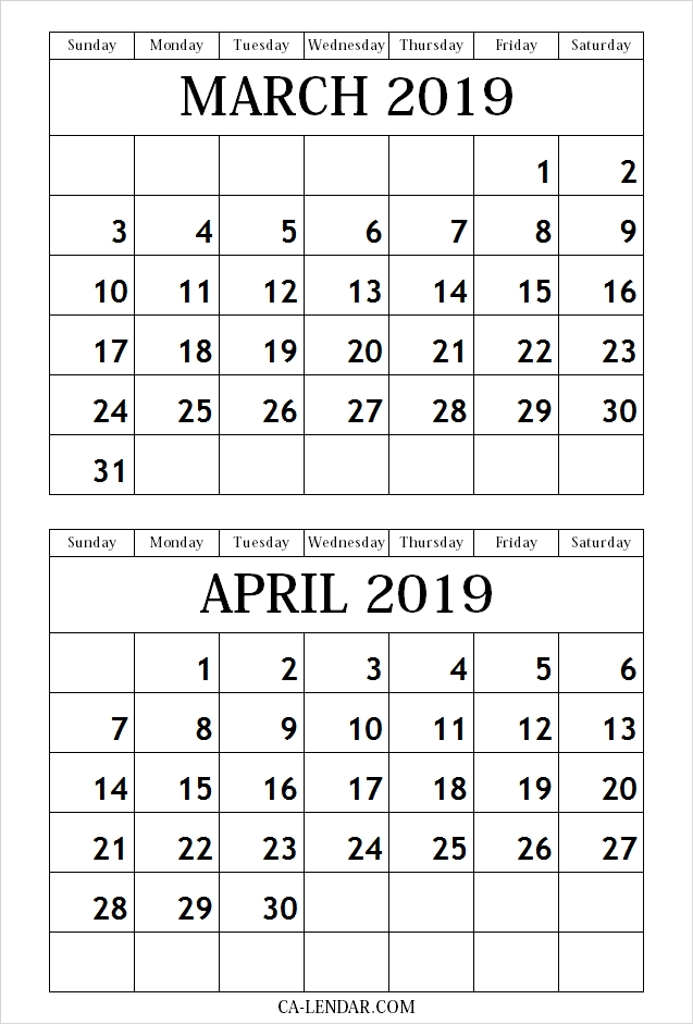 March April 2019 Calendar Free Printable Calendar