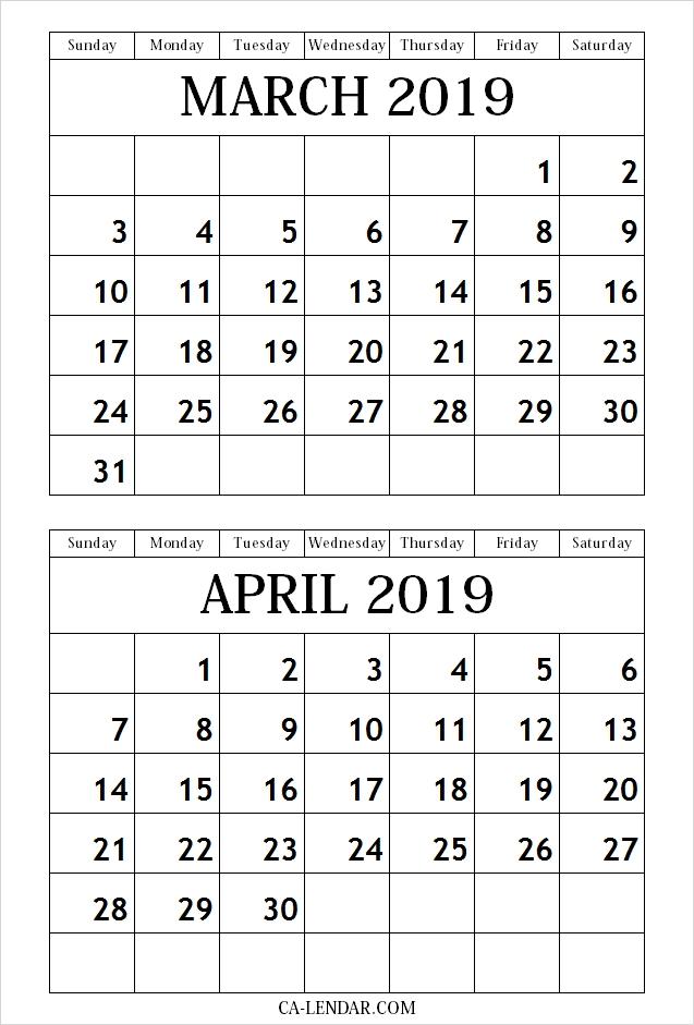 March April 2019 Calendar